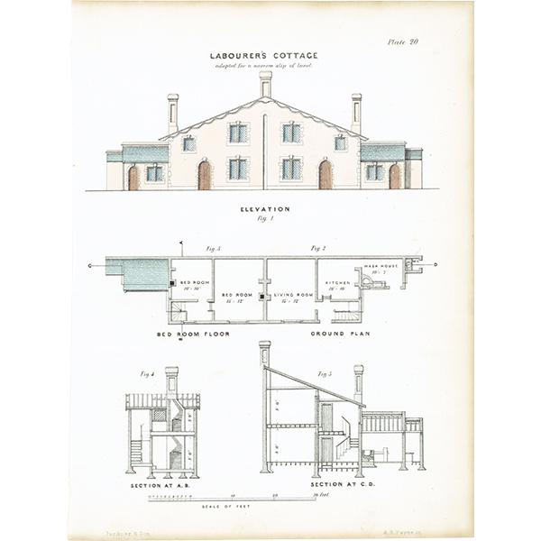 アンティークプリント 建築設計図 Labourer's cottage