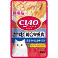 いなば CIAOパウチ 総合栄養食 かつお ささみ・おかか入り 40g