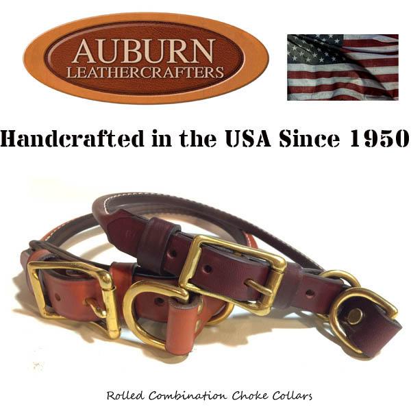USA製【AUBURN】《丸革コンビネーションチョークカラー》サイズ16 中型犬用 ブライドル(馬具)レザー