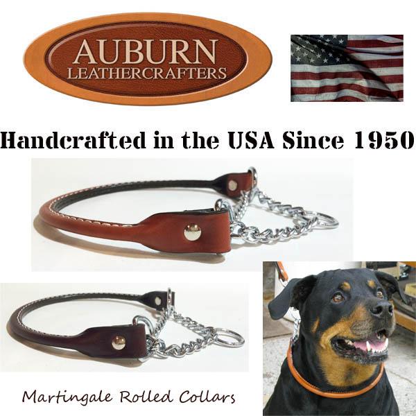 USA製【AUBURN】《丸革チェーン・ハーフチョークカラー》サイズ12 小型犬用 丸革ブライドル(馬具)レザー
