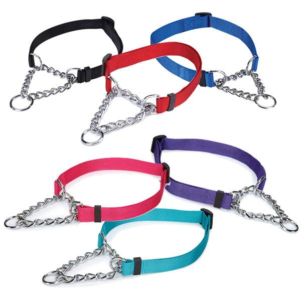 メール便OK 犬の首輪 シンプルカラーハーフチェーンチョークカラー Sサイズ