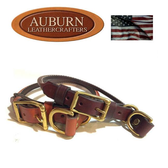 USA製【AUBURN】《丸革ブライドル(馬具)レザー コンビネーションチョークカラー》サイズ16〜24 中型〜大型犬用