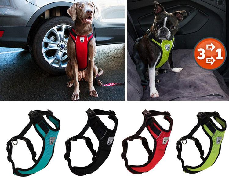 カーシートにも使用できる、メッシュの通気性の良い【メッシュベストハーネス Lサイズ 大型犬用〜サイズ】