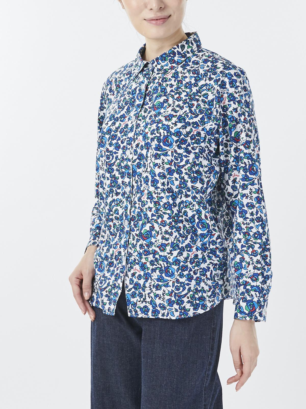 小花柄プリントシャツ