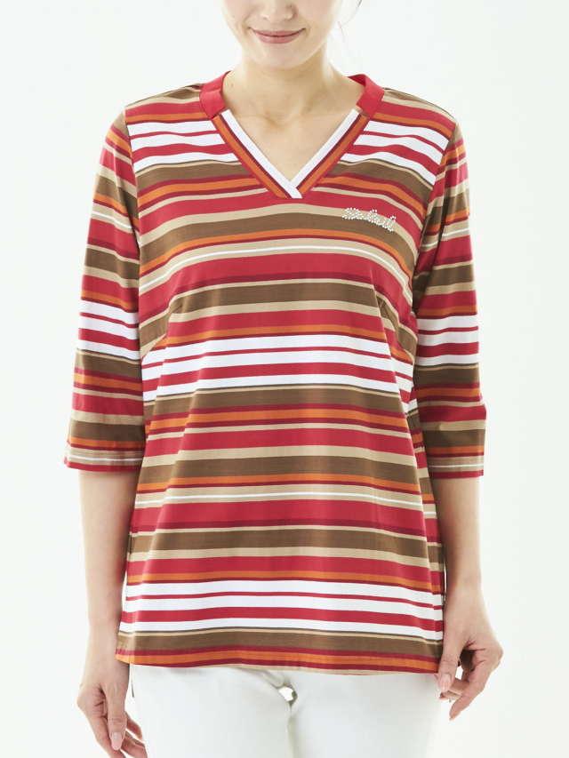 綿天ランダムボーダー Tシャツ