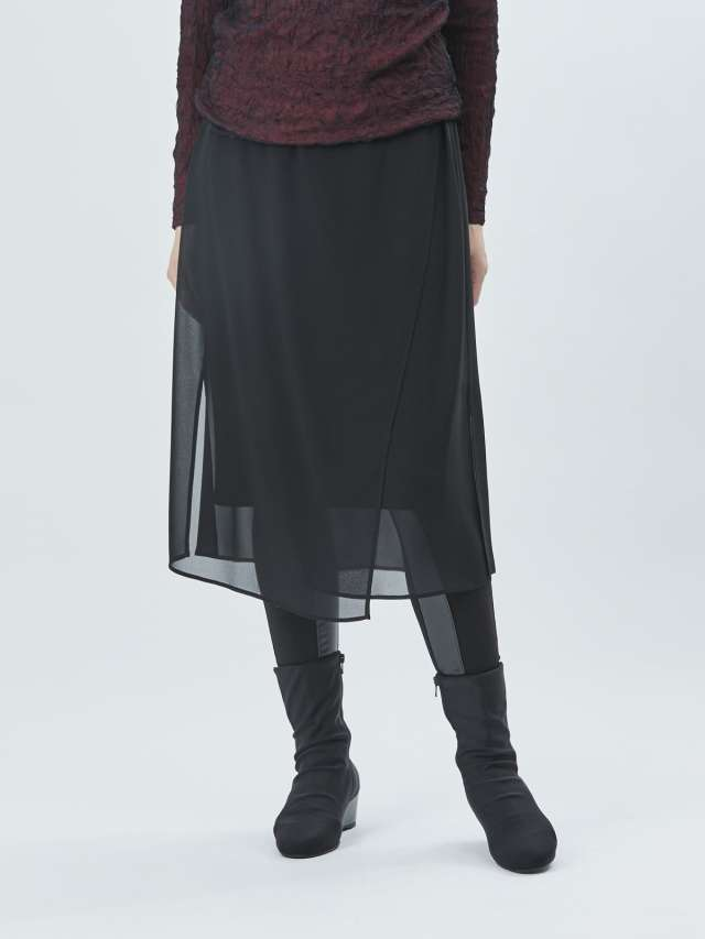 シフォン切り替えデザインスカート