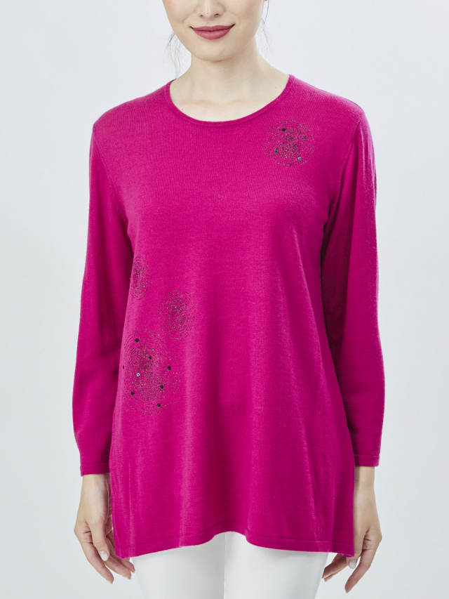 ラメ刺繍入りウールセーター