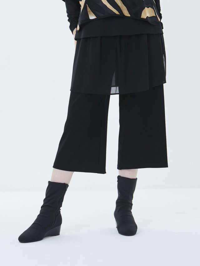 ZEROG素材オーバースカート付ガウチョパンツ