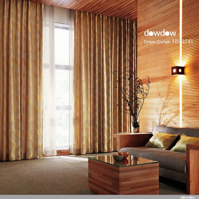 【イタリアン モダン】有機的な幾何学柄の風通織のドレープカーテン&シェード【HS-3241】ゴールド&ベージュ