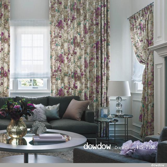 【アメリカン*クラシック】シックで美しい花柄のドレープカーテン&シェード【HS-7100】パープル&アイボリー