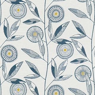 【北欧モダン】ノルディックの花柄のドレープカーテン&シェード【LX-8041】ネイビー&グレー