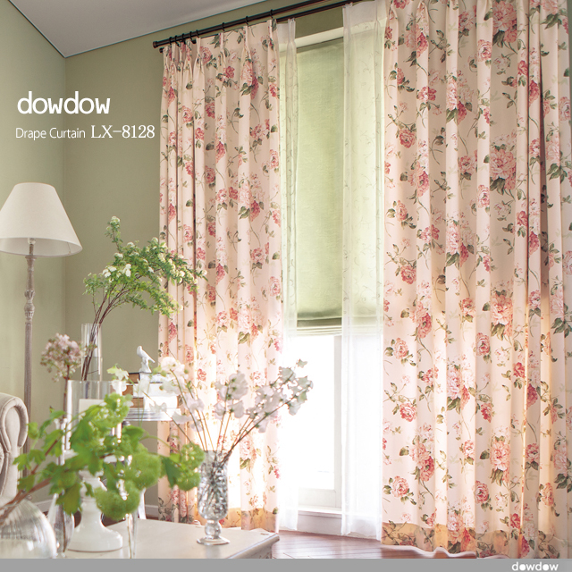 【アメリカン クラシック】サテン生地の花柄プリントのドレープカーテン【LX-8128】ローズピンク