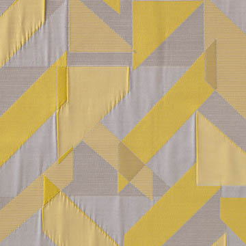 【ミッドセンチュリー】風通織のジオメトリック柄のドレープカーテン&シェード【SC-0108】イエロー&ベージュ