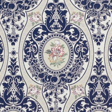 【ゴシック*モダン】蒼いメダリオン柄のドレープカーテン【SC-0135】シルバー&ブルー
