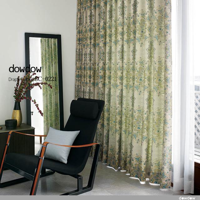 【クラシック モダン】緻密で美しいジャガード織のアラベスク柄のドレープカーテン【SC-0221】グリーン