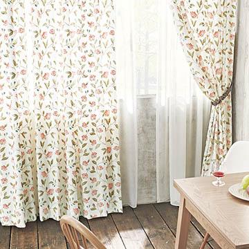 【フレンチ カントリー】鮮やかな花の刺繍のドレープカーテン【UX-8111】レッド
