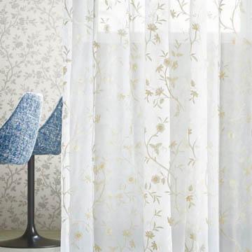 【フレンチシック】キンロバイの花の刺繍のレースカーテン【UX-8170】ペールイエロー