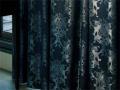 【ゴシック_モダン】光沢のクラシック文様の織柄のドレープカーテン&シェード【HS-7117】ダークブルー