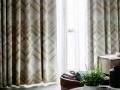 ミッドセンチュリー|モダンデザインのバイヤス・チェックの遮光カーテン&シェード【HS-8362】ブラウン&グレー