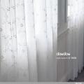 【クラシック モダン】小花のオーナメント柄の刺繍のレースカーテン【LX-8456】ナチュラルホワイト