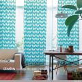 【北欧モダン】幸せの鳥デザインのプリントのドレープカーテン&シェード【RC-7122】ブルー