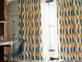 【ミッドセンチュリー】ハーフサークルの幾何学柄の遮光カーテン&シェード【RC-7191】イエロー&ブルー
