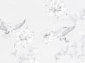 【フレンチ・ビンテージ】小鳥と花の刺繍のレースカーテン&シェード【RX-4004】ホワイト&グレー