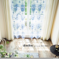 【クラシック・モダン】美しいクラシック柄のラッカー・プリントのレースカーテン&シェード【RX-4034】ブルー&ホワイト