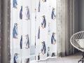 レースカーテン&シェード【北欧モダン】ペンギンのオパールプリント【RX-8129】アイボリー