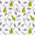 【北欧モダン】洋ナシの刺繍のドレープカーテン&シェード【UX-5061】グリーン&ホワイト