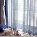 【クラシック モダン】モロッコタイル風の小紋柄のレースカーテン&シェード【UX-5645】ブルー