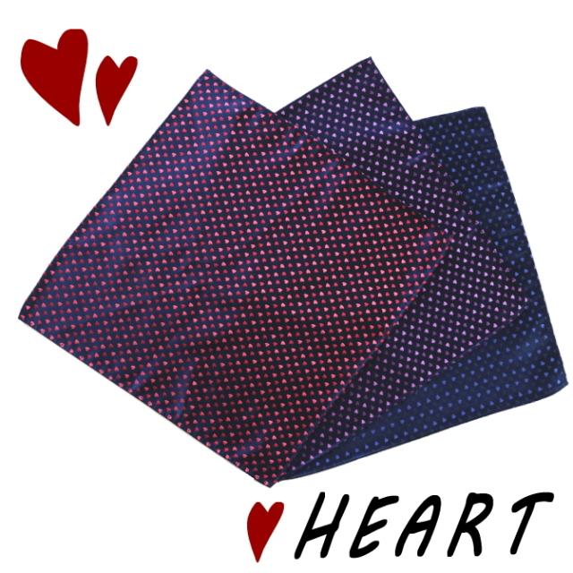ポケットチーフ ハート 小 シルク 日本製 京都 西陣織 全3色 メール便 送料無料