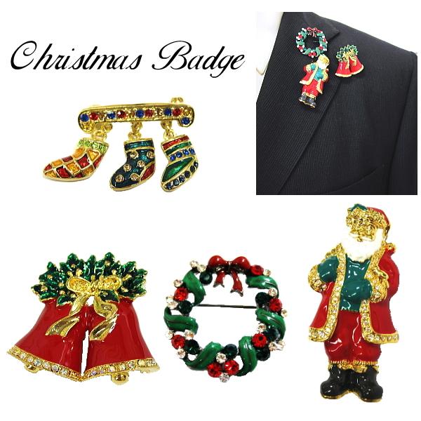 バッチ クリスマス モチーフ メール便 送料無料