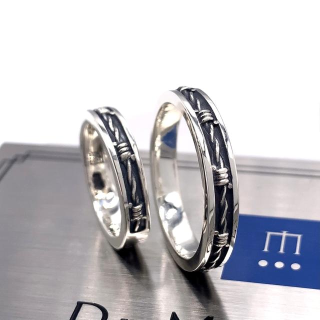 有刺鉄線のリング、FC285、シルバー925製