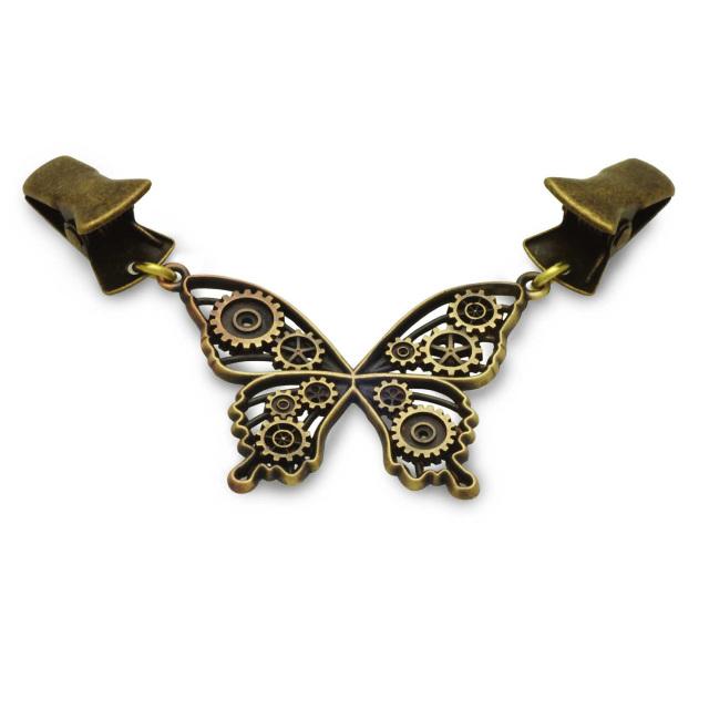 ストールクリップ、clp01、真鍮製、蝶のデザイン
