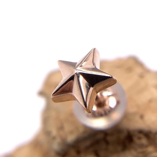 ゴールドの星のピアス、snd077、k10製