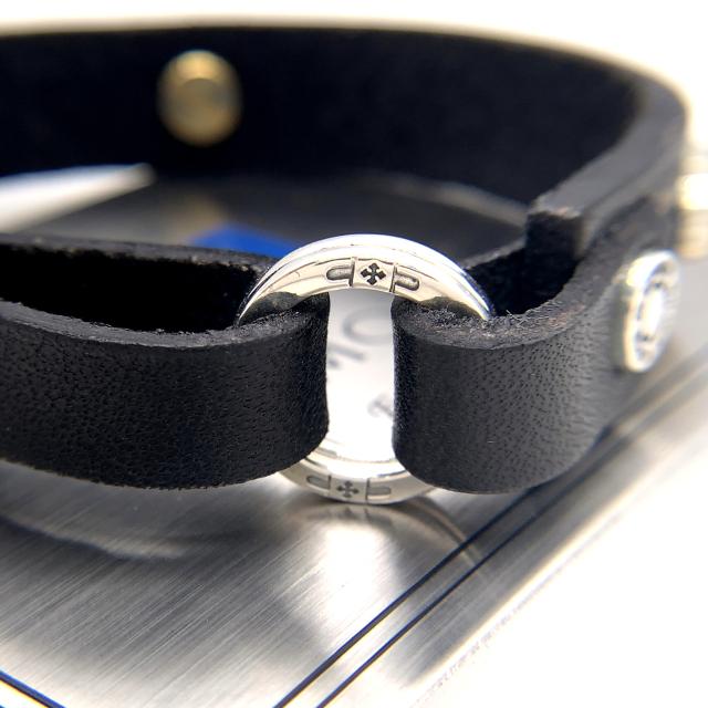メンズレザーブレスレット、RE01、シルバー925、黒レザー製
