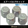 4個セットエアーバルブキャップ銀窒素ガス充填車用バルブキャップ N2バルブ アルミ製 電着メッキ仕様
