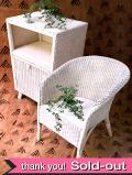 1930年代:英国の白いアールデコデザイン♪クラシックホワイトが優雅な籐の椅子とチェストの2点セット