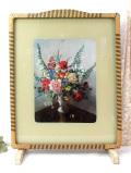 1950年代:華やかなバラたちの絵画が豪華♪英国のファイヤースクリーン
