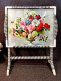 <英国ミッドセンチュリー>華やかなお花たちの静物画♪ファイヤースクリーンにもなる2WAYのテーブル