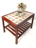 1930年代:英国カントリーサイドのお花のアンティークタイル♪しっかりとしたオールドオークの木製テーブル