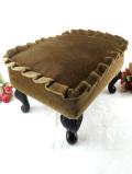 <英国ミッドセンチュリー>アンバー色の布張り♪猫足が優雅な長方形のフットスツール
