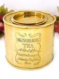 <英国ビンテージ>「ENGLISH BREAKFAST TEA」♪金色に輝く無垢の真鍮のティーキャディ