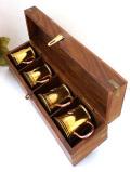 1930年代:素晴らしい真鍮細工♪無垢の真鍮のリアルアンティークの愛らしいスモールマグカップセット「4個:木箱入り」