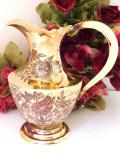 1930年代:優雅なヴィクトリアンスタイル♪お花たちが咲いた無垢の真鍮のジャグ