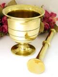 1930年代:美しい真鍮細工♪とても珍しい無垢の真鍮のすりこぎとすり鉢のセット
