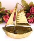 1930年代:優雅な真鍮細工♪とても珍しい無垢の真鍮の帆船の小物入れ