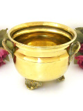 1930年代:きれいな真鍮細工♪無垢の真鍮でつくられたWハンドルの鉢カバー