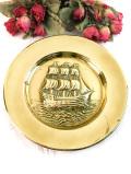 1920年代:立体的な真鍮細工の帆船♪英国アンティークの飾り皿